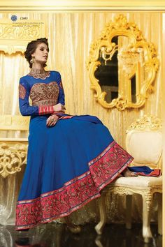 Adorable Blue Georgette Floor Touch Anarkali Suit Call/Whatsapp 08968017642, 07837409851 or visit http://easyafford.com/winter-sale/236-adorable-blue-georgette-floor-touch-anarkali-suit.html to order