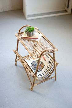 Kalalou Cane Magazine Rack Table is available at American Country Home Store. Diy Furniture Renovation, Diy Furniture Table, Cane Furniture, Bamboo Furniture, Reclaimed Furniture, Furniture Legs, Garden Furniture, Furniture Design, Tiki Bars