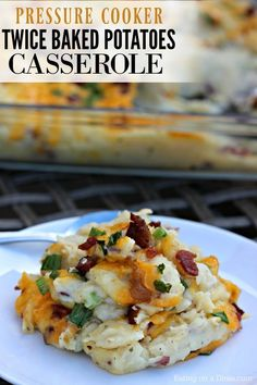 This Instant Pot Twice Baked Potatoes Casserole Recipe is amazing! It is one of our new favorite pressure cooker recipes because it saves so much time! You get all the flavor of twice baked potatoes without all the work! Loaded Baked Potato Casserole, Potatoe Casserole Recipes, Potato Recipes, Potato Dishes, Banana Recipes, Easy Cooking, Cooking Recipes, Healthy Recipes, Meditranian Recipes