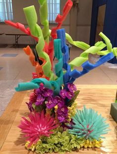Coral Reef: pool noodles, packing peanuts, certain types of fake flowers & leaves, tall grassy things, & aquarium tubing