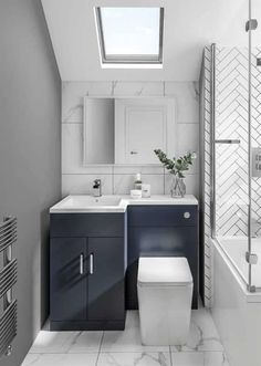 33 Fabulous Small Bathroom Design Ideas - Not all people can afford huge, luxurious baths that resemble spas with jacuzzi and saunas, bathtubs and fancy showers, separate his and her vanities . Small Bathroom Interior, Small Bathroom Layout, Modern Bathroom, Small Bathroom With Bath, Small Bathroom Furniture, Shower In Bath, Small Bathroom Ideas Uk, Small Bathroom Suites, Toilet And Bathroom Design