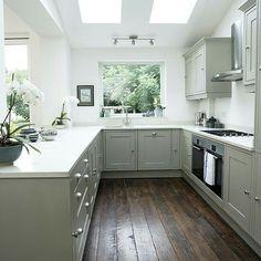 Grey & white with dark wood floor