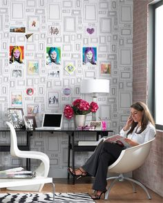 photo frame wallpaper--> great idea for work