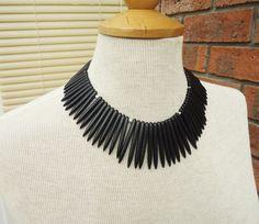 Black Magnetite Necklace, Black Gemstone Necklace, Black Bib Necklace £29.00 Gemstone Necklace, Handmade Necklaces, Gemstones, Black, Fashion, Moda, Gems, Black People