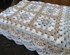 granny square crochet blue grey - Google Search