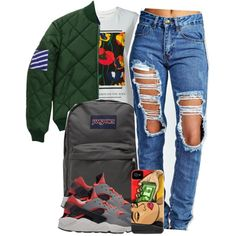 5:18:15 by codeineweeknds on Polyvore featuring polyvore fashion style Iceberg Fred Perry Boohoo JanSport