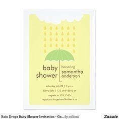 Rain Drops Baby Shower Invitation - Gender Neutral