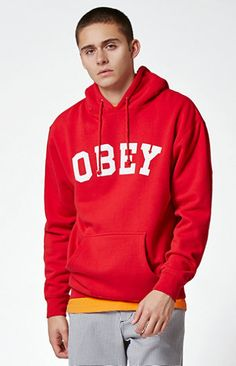 Keep your style OG when the temp drops thanks to the OBEY OG Text Pullover Hoodie. This essential hoodie has a drawstring hood, a kangaroo pocket, a soft fleece lining, and a bold OBEY logo printed across the chest.   	Solid hoodie 	OBEY logo on chest 	Drawstring hood 	Kangaroo pocket 	Long sleeves 	Ribbed cuffs and hem 	Fleece lining 	Machine washable 	80% cotton, 20% polyester
