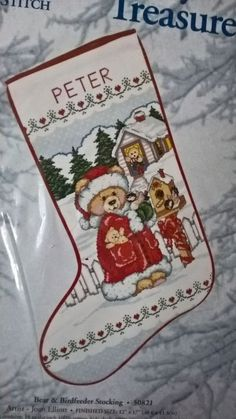 Candamar Counted Cross Stitch Bear and Bird Feeder Stocking Christmas Snow Teddy #Candamar #Stocking