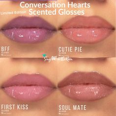 "Wrap up the perfect gift this Valentines Day with The Conversation Hearts Limited Edition scented, tinted gloss collection by SeneGence.  They smell like strawberry candy & have fun names including: Cutie Pie, First Kiss, BFF and Soul Mate.  Leave your giftee DEFINITELY wanting to say, ""Be Mine"".  Purchase yours before this Limited Edition Collection is gone for good.  Sold individually and as a collection.  #valentinesday #bemine #conversationhearts #lipsense #senegence #gloss"