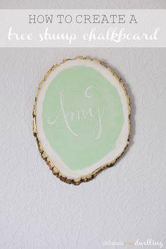 DIY mint and metallic Tree Stump Chalkboard