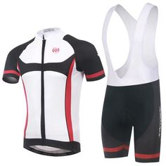 Men's White and Black Short Sleeve Cycling Jersey Set #Cycling #CyclingGear #CyclingJersey #CyclingJerseySet