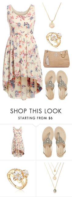 """Cream Butterfly Dress"" by amanda-o-twomey ❤ liked on Polyvore featuring Antik Batik and Tory Burch"