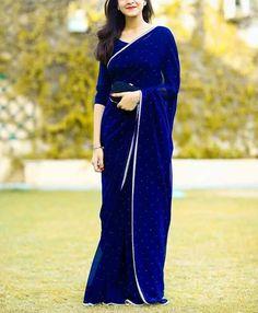 Blue elegant prom dresses, indian sari simple evening dresses ,important party dress,chiffon Pakistani Dresses, Indian Sarees, Indian Dresses, Indian Outfits, Elegant Prom Dresses, Elegant Saree, Evening Dresses, Moda Indiana, Simple Sarees