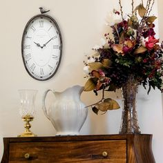 Very Large Vintage Style Oval Wall Clock Shabby Chic