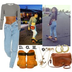 90's skateboard chick., created by dopegenhope on Polyvore