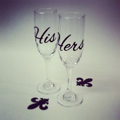 His and Hers champagne glasses wedding by Plumleafhollow on Etsy