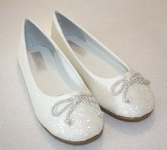 NEW - Ivory Glitter Flower Girl Bridesmaid Ballet Flat Shoes - Sizes Ch12.5-Ad 4