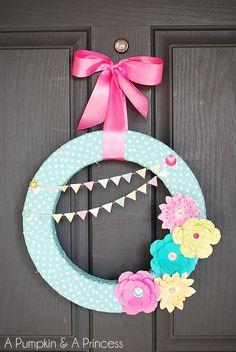 Spring Paper Flower Wreath {A Pumpkin & A Princess}