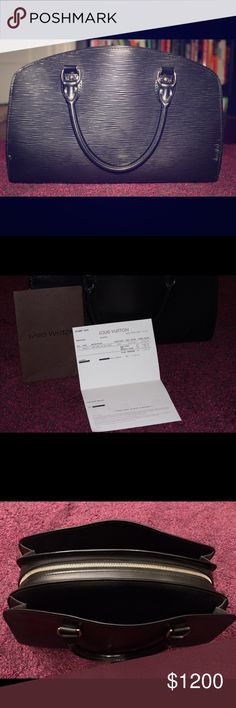100% Authentic Louis Vuitton Pont-Neuf PM Handbag Selling my LV handbag because I no longer have use for it. Have had it since 2012 when I bought it. Minimal scratches on the bag, but nothing noticeable. Can get it buff and polished at LV for free, with proof of purchase receipt that I will send with the bag. This is a Epi Black Leather discreetly embossed w/ the LV initials & microfiber lining. It has silvery brass pieces, zipper closure, and 3 inside compartments. Feel free to make me an…
