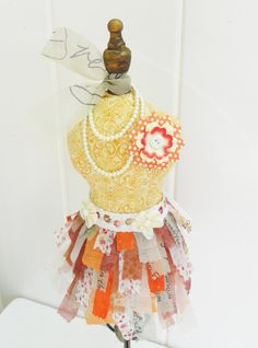 OOAK Dress Form Girl Bohemian Boho Orange Yellow Cream Tan Pincushion Decoration Feminine Shabby Chic