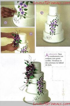 MK Wedding cake with fuchsia-Fuchsia Wedding cake tutorial