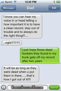 funny parents texts - The Best Of Parents Shouldn't Text For 2012 Stupid Texts, Funny Texts From Parents, Message For Dad, Parenting Humor, Knowing You, Lol, Messages, Sayings, Father