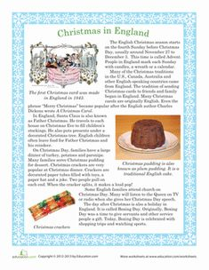 Christmas First Grade Comprehension Worksheets: Christmas in England