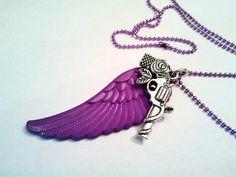 Original Acrylic Plastic Purple Feather and Gun by waterdewsf