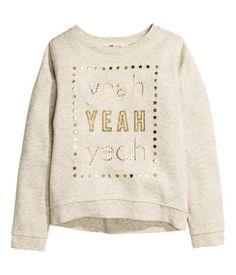 Sweatshirt with Printed Design | Light beige melange | Kids | H&M US