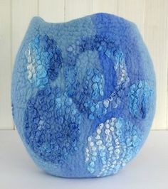 Textured blue felt vessel (rosiepink)