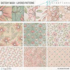 Sketchy Wash CU Layered Patterns