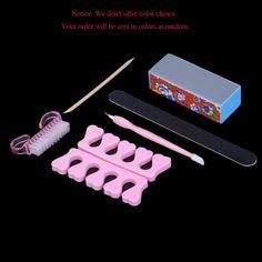6Pcs Professional Manicure Tools Accessories Kit Rectangular Nail File Toe Finger Separator Brush Wooden Stick Cuticle Fork&Pusher