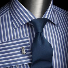 Great shirt and tie combo blue bengal stripe tailored fit for Mens dress shirts charles tyrwhitt