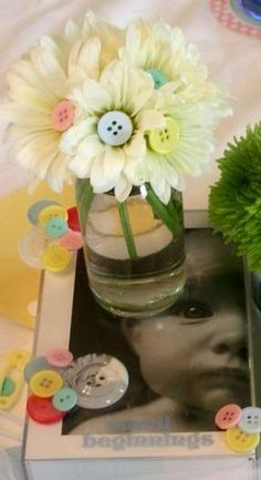 Hostess with the Mostess® - Cute As A Button Baby Shower LOVE THIS IDEA WITH THE FLOWERS