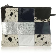Florence Bridge - Bianca Patchwork Clutch Bag ($140) ❤ liked on Polyvore featuring bags, handbags, clutches, patchwork handbags, embossed leather purse, leather patchwork purse, 100 leather handbags and genuine leather purse