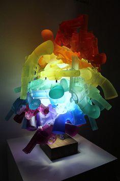Happy light up death machine sculpture