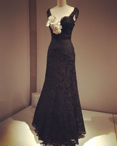 Chanel evening dress, 1937. Black lace with white linen corsage.
