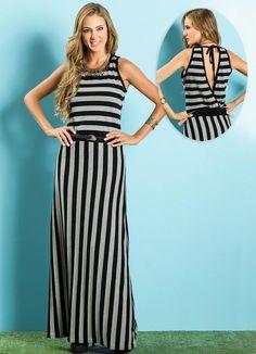 f61d73c2b Vestido Longo (Listrada Preta e Branca) Queima De Estoque, Modelos De Roupas  Feminina