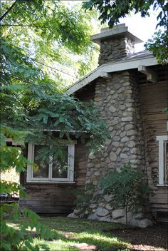 1914 Bungalow Stone Chimney.  Graduated size of stone, bottom to top.