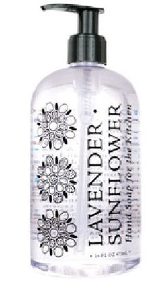 Lavender Sunflower Liquid Hand Soap by Greenwich Bay Trading Company. Enriched with shea butter, cocoa butter, thyme leaf oil, sunflower oil & essential oils of lavender.