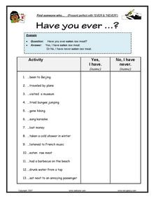 Past tenses & perfect tenses - present & past perfect, past simple Worksheets for ESL