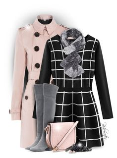 """""""Black and White Dress"""" by pinkroseten ❤ liked on Polyvore featuring Burberry, Gianvito Rossi, Charlotte Russe, Pieces and Michael Kors"""
