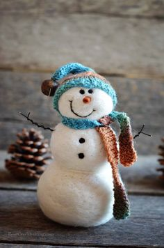 Bear Creek Snowman #716 needle felted by Teresa Perleberg