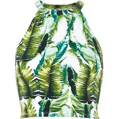 River Island Green tropical palm print crop top ($11) ❤ liked on Polyvore featuring tops, crop tops, shirts, crop, sale, green shirt, river island, high neck crop top, shirts & tops and green top