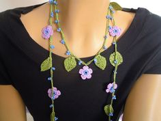crochet necklace, lariat, lilac flower, leaves. $20,00, via Etsy.