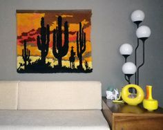 Vintage 70s Shag Rug Wall Hanging Southwest Sunset by elliemayhems, $69.00