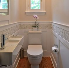 Bathroom Ideas Themes out Small Bathroom Shower Renovations above Bathroom Design Ideas With Window In Shower via Beach House Bathroom Ideas Pictures Bad Inspiration, Bathroom Inspiration, Downstairs Toilet, Downstairs Cloakroom, Bathroom Renos, Wainscoting Bathroom, Master Bathroom, Wainscoting Ideas, Paint Bathroom