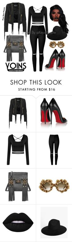 """Plus Size Please"" by keys2luxlife on Polyvore featuring Balmain, Christian Louboutin, A-Morir by Kerin Rose and Boohoo"