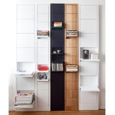 "i love these ""klaffi"" shelves! such an amazing idea... each box can be used either for storage, or flipped open for display...wow-ie."